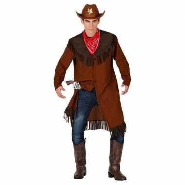 Goedkoop carnaval/feest cowboy verkleedcarnavalskleding bruin heren