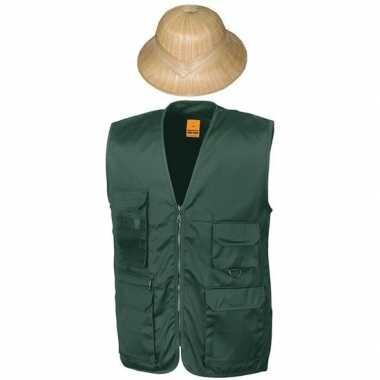 Goedkoop carnaval/feest groen jungle explorer verkleed setje vest tro