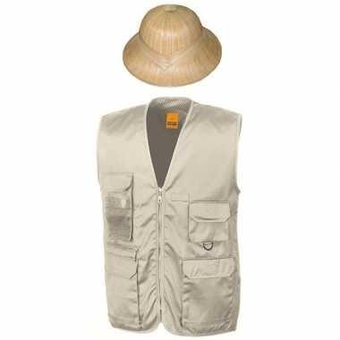 Goedkoop carnaval/feest jungle explorer verkleed setje vest tropenhel