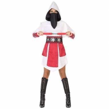 Goedkoop carnaval/feest ninja verkleedcarnavalskleding wit/rood dames