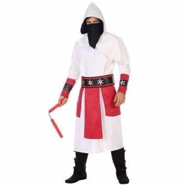 Goedkoop carnaval/feest ninja verkleedcarnavalskleding wit/rood heren