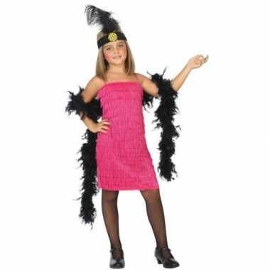 Goedkoop carnaval/feest roze flapper jurkje meisjes s/roaring twentie