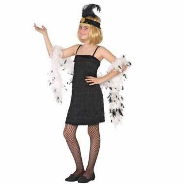 Goedkoop carnaval/feest zwart flapper jurkje meisjes s/roaring twenti