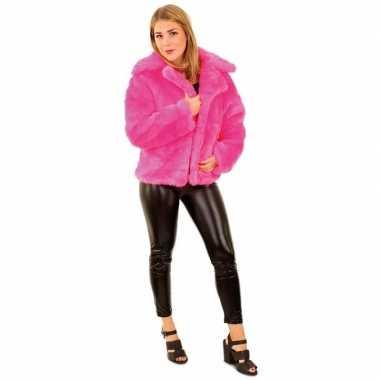 Goedkoop carnaval nep bontjas neon roze dames carnavalskleding