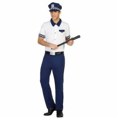 Goedkoop carnaval politie carnavalskleding blauw/wit heren