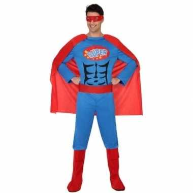 Goedkoop carnaval superhelden carnavalskleding blauw/rood heren