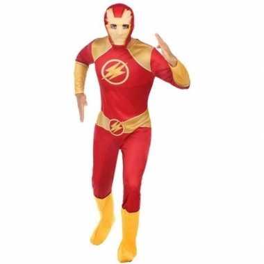 Goedkoop carnaval superhelden carnavalskleding rood/goud heren
