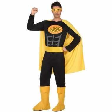 Goedkoop carnaval superhelden carnavalskleding zwart geel heren