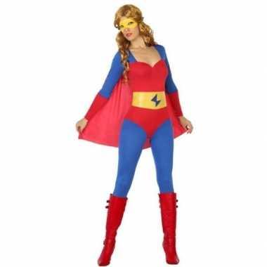 Goedkoop carnaval superheldin carnavalskleding blauw/rood dames