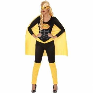 Goedkoop carnaval superheldin carnavalskleding zwart geel dames