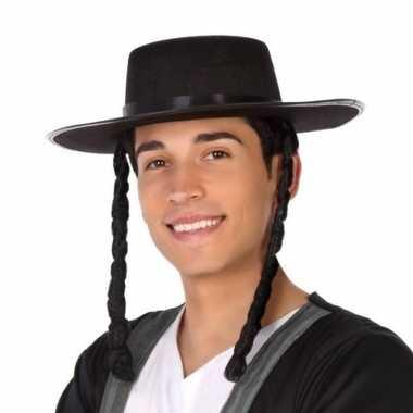 Goedkoop carnavalaccessoires zwarte joodse hoed heren carnavalskledin