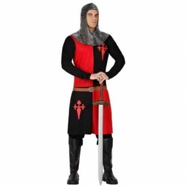 Goedkoop carnavalscarnavalskleding middeleeuwse ridder zwart/ rood he