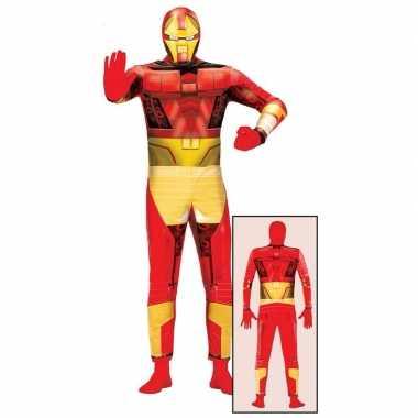 Goedkoop carnavalscarnavalskleding superheld rood/goud volwassenen