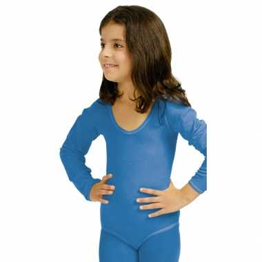Goedkoop carnavalskleding blauwe body lange mouwen meisjes