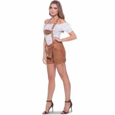 Goedkoop carnavalskleding bruine lederhosen shorts broek dames