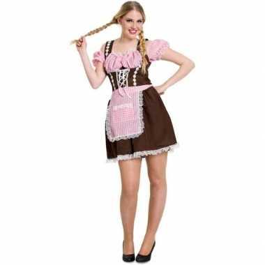 Goedkoop carnavalskleding bruine/roze dirndl jurk dames