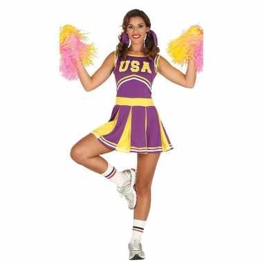 Goedkoop carnavalskleding cheerleader paars/geel volwassenen