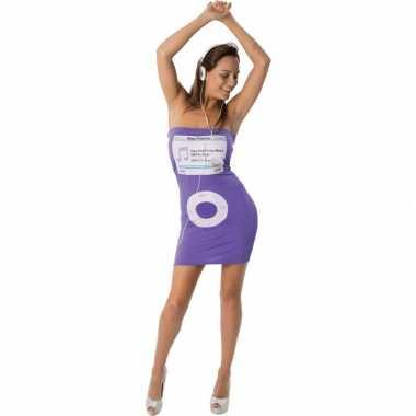 Goedkoop carnavalskleding dames jurk paars mp speler print