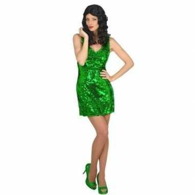Goedkoop carnavalskleding disco jurk groen dames