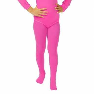 Goedkoop carnavalskleding felroze kinder panty