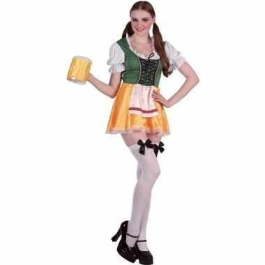 Goedkoop carnavalskleding groene/gele dirndl jurk dames