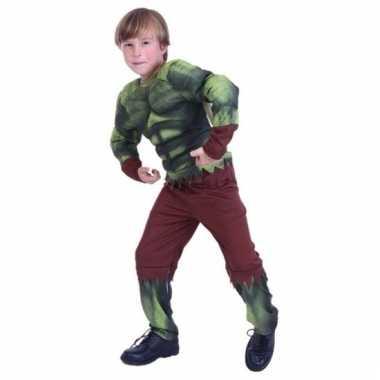 Goedkoop carnavalskleding groene gespierde superheld jongens