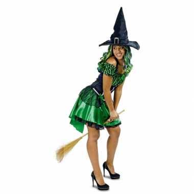 Goedkoop carnavalskleding groene heksen jurk alexia dames