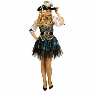Goedkoop carnavalskleding groene piraten jurk dames