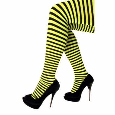 Goedkoop carnavalskleding/halloween geel/zwarte heksen panties/maillo