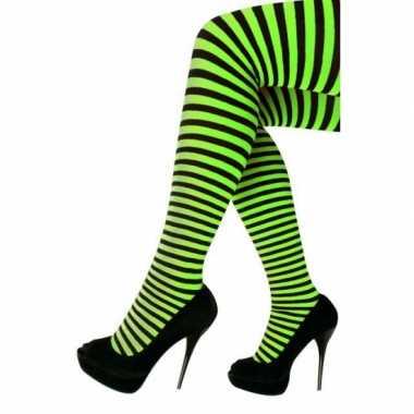 Goedkoop carnavalskleding/halloween groen/zwarte heksen panties/maill