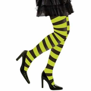 Goedkoop carnavalskleding/halloween neon groen/zwarte heksen panties/