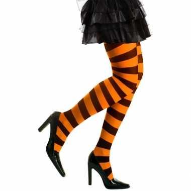 Goedkoop carnavalskleding/halloween oranje/zwarte heksen panties/mail