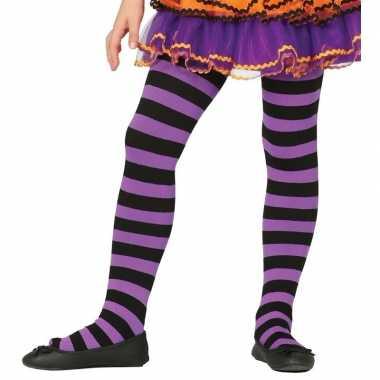 Goedkoop carnavalskleding/halloween paars/zwarte heksen panties/maill