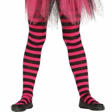 Goedkoop carnavalskleding/halloween roze/zwarte heksen panties/maillo