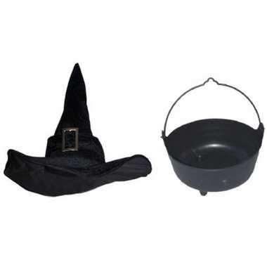 Goedkoop carnavalskleding heksen accessoires heksenhoed heksenketel dames volwassenen