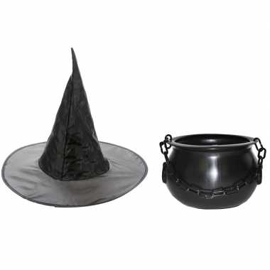 Goedkoop carnavalskleding heksen accessoires heksenhoed heksenketel meisjes kinderen 10122096