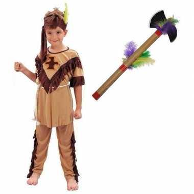Goedkoop carnavalskleding indiaan tomahawk maat m jongens/meisjes