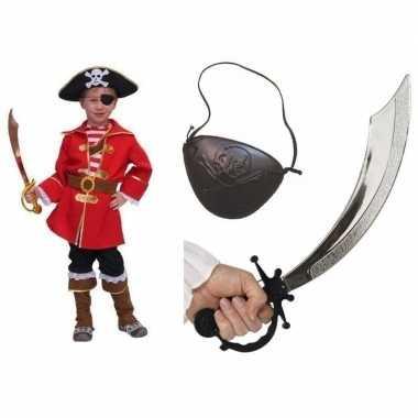 Goedkoop carnavalskleding kapitein piraat kids