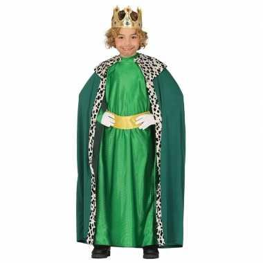 Goedkoop carnavalskleding koning groen cape jongens