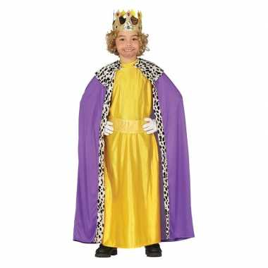 Goedkoop carnavalskleding koning paars/geel cape jongens