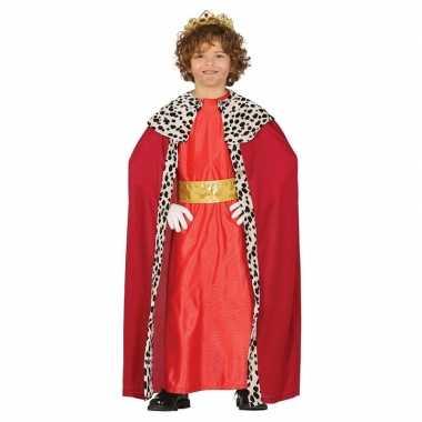 Goedkoop carnavalskleding koning rood cape jongens