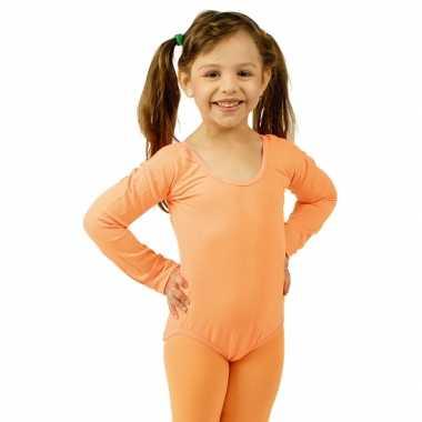 Goedkoop carnavalskleding oranje body lange mouwen meisjes