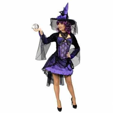 Goedkoop carnavalskleding paarse heksen jurk alexia dames