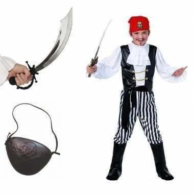 Goedkoop carnavalskleding piraat maat m compleet jongens/meisjes