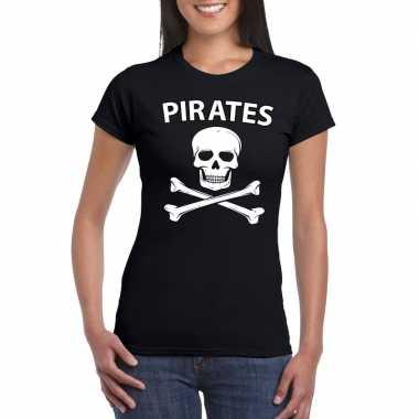 Goedkoop carnavalskleding piraten shirt zwart dames