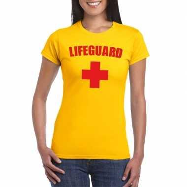 Goedkoop carnavalskleding reddingsbrigade/ lifeguard shirt geel dames