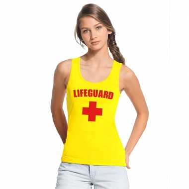 Goedkoop carnavalskleding reddingsbrigade/ lifeguard singlet geel dam