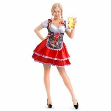 Goedkoop carnavalskleding rode/bloemen motief dirndl jurk dames
