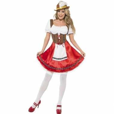 Goedkoop carnavalskleding rode/bruine dirndl jurk dames