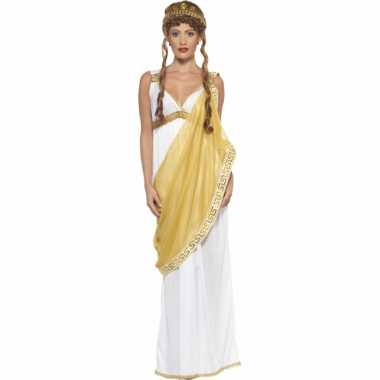 Goedkoop carnavalskleding wit/gouden griekse jurk dames